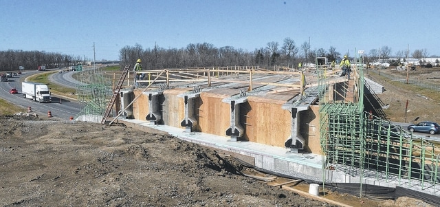 East Hanthorn Road overpass above Interstate 75 in Allen County under construction on Tuesday.