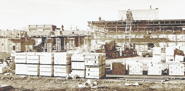 Crews work to build the Central Fire Station in November 1975. It was in the location of the former Rowlands Row.