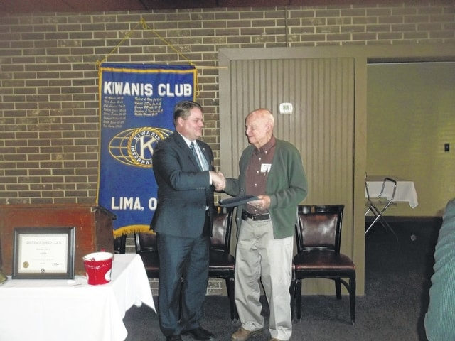 Chet Ebling, right, received a Kiwanis Legion of Honor award for his 60 years as a member of the Kiwanis Club of Lima.