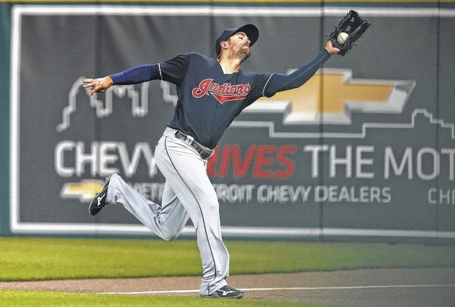 Cleveland's Lonnie Chisenhall catches a fly ball in foul territory during Friday night's game in Detroit.