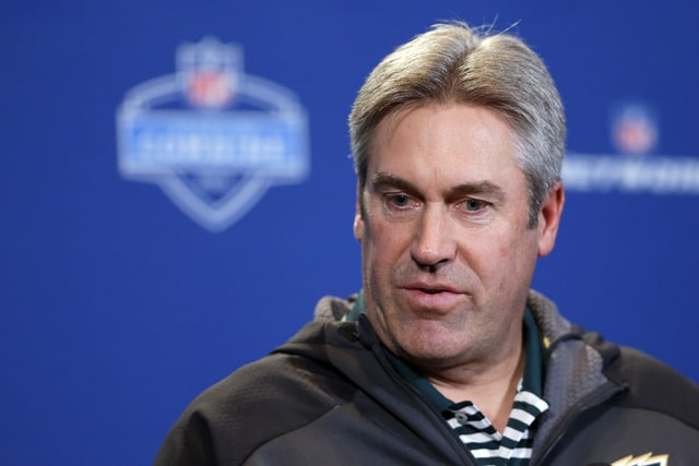 FILE - In this Feb. 24, 2016, file photo, Philadelphia Eagles head coach Doug Pederson speaks during a press conference at the NFL football scouting combine in Indianapolis. The Eagles acquired the No. 2 overall pick in next week's draft from the Cleveland Browns in exchange for five picks on Wednesday, April 20, 2016. The trade allows Philadelphia to select one of the top quarterback prospects, Carson Wentz of North Dakota State or Jared Goff of California at No. 2. (AP Photo/Michael Conroy, File)