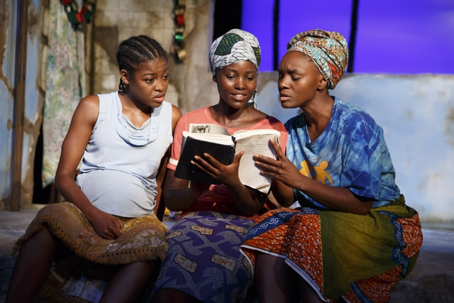 """This photo provided by The Public Theater shows, from left, Pascale Armand, Lupita Nyongo and Saycon Sengbloh in """"Eclipsed,"""" written by Danai Gurira. In an effort to shine a light on the hundreds of girls abducted from a school in Nigeria two years ago, all performances of the Broadway play will be dedicated to the still-missing victims. Gurira said Friday that each future performance of her play will be dedicated to a girl who has been abducted by the Boko Haram and will be named in her honor."""