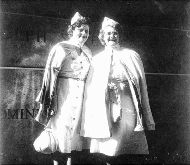 Local group founders Nellie Leatherman and Mrs. Earl Jennings pose for a photo in 1947.