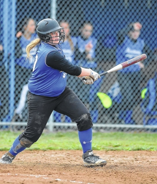 Allen East's Kylie Wyss hits a single against Delphos Jefferson during Thursday's game in Harrod. See more game photos at LimaOhio.com
