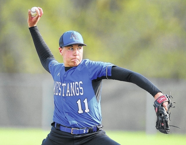 Allen East's Brayden Newland pitches against Bluffton during Tuesday's game in Bluffton.