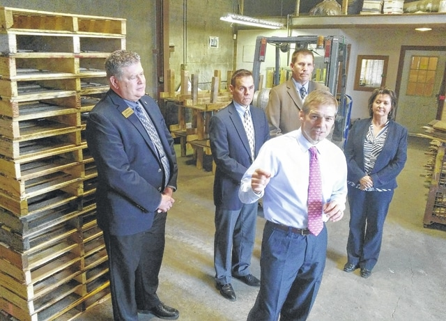U.S. Rep. Jim Jordan, R-Urbana, spoke Friday at Lima Pallet Company to announce a new bill he said is designed to help spur able-bodied adults without children off welfare and into the workforce. Standing with Jordan were, from left, Jed Metzger, CEO of the Lima-Allen County Chamber of Commerce; Jeff Sprague, CEO of the Allen Economic Development Group; Joe Patton, Workforce Development Administrator for Ohio Means Jobs-Allen County; and Tracie Sanchez, owner of Lima Pallet.