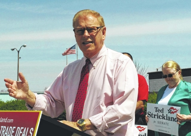 Democratic U.S. Senate candidate Ted Strickland held a news conference Wednesday in front of International Brake Industries in Lima. Strickland spoke out against what he described as unfair trade deals hurting U.S. workers.