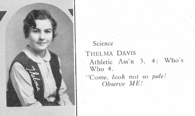 Thelma Davis Calhoun's yearbook photo, from 1931. Calhoun was a U.S. Marshal, painter and politician.