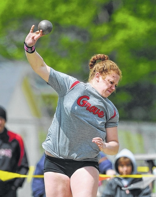 Columbus Grove's Lyne'a Diller competes in the shot put during Saturday's Northwest Conference Track and Field Championship at War Memorial Stadium in Ada.  Richard Parrish | The Lima News
