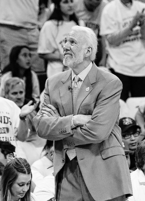 San Antonio Spurs head coach Gregg Popovich watches the video board during a time out in the second half of Game 4 of a second-round NBA basketball playoff series on Sunday. (AP Photo)