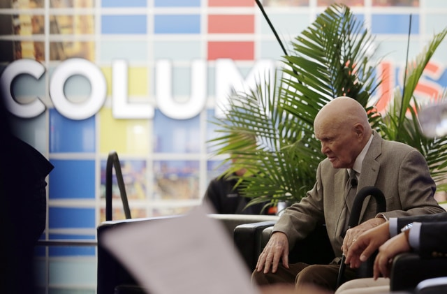 Former U.S. Sen. John Glenn waits for the start of a celebration for the renaming of Port Columbus International Airport to John Glenn Columbus International Airport Tuesday, June 28, 2016, in Columbus, Ohio. Senate Bill 159, which changes the name of the airport, goes into effect in September. (AP Photo/Jay LaPrete)