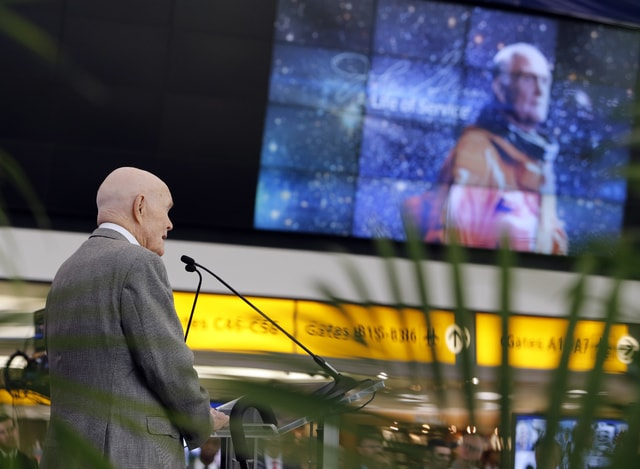 Former U.S. Sen. John Glenn speaks during a celebration for the renaming of Port Columbus International Airport to John Glenn Columbus International Airport Tuesday, June 28, 2016, in Columbus, Ohio. Senate Bill 159, which changes the name of the airport, goes into effect in September. (AP Photo/Jay LaPrete)