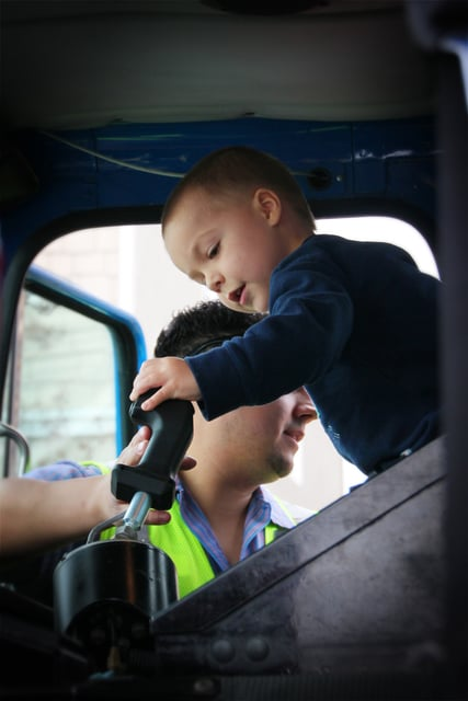 Ethan Dean, of Rancho Cordova, Calif., 6, has cystic fibrosis. He had his dream to be a garbage man come true Tuesday with help of the Make-A-Wish Foundation.