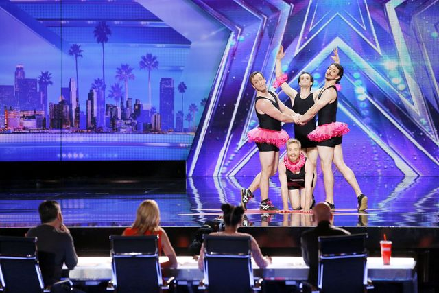 """In this image provided by NBC, Quatuor Stomp performs during """"Auditions Pasadena Civic Auditorium"""" on an episode of the television show """"America's Got Talent"""" that aired June 28 on NBC. The summer's most popular program, """"America's Got Talent,"""" is benefiting from the presence of new judge Simon Cowell to record its best ratings in five years."""