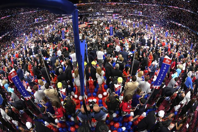 Delegates celebrate after Republican Presidential candidate Donald Trump's acceptance speech on the final day of the Republican National Convention in Cleveland on Thursday.