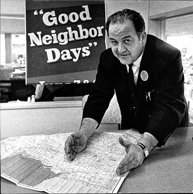 Welles Manager Frank Seidenberg outlines the Good Neighbor area in a photo published June 7, 1962, in the Lima Citizen.
