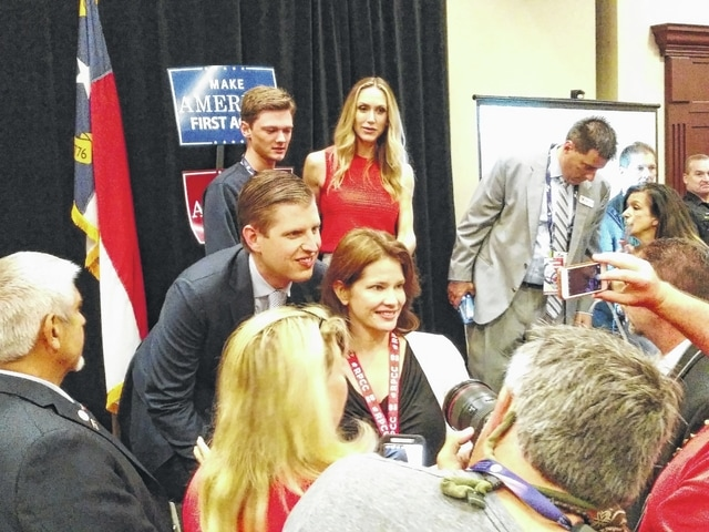 Eric Trump, son of Republican presidential candidate Donald Trump, paid a visit to the North Carolina GOP delegation Thursday at the Cleveland Marriott East Hotel.