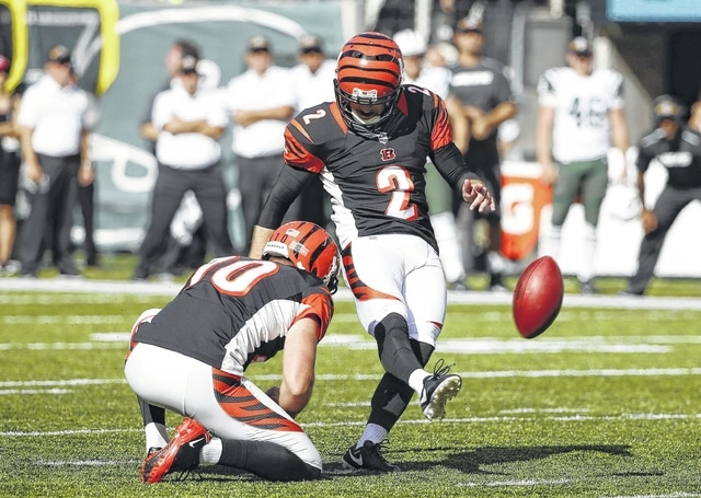 Cincinnati Bengals' Mike Nugent (2) kicks the game winning field goal during the second half of an NFL football game against the New York Jets Sunday, Sept. 11, 2016 in East Rutherford, N.J. The Bengals won 23-22. (AP Photo/Kathy Willens)