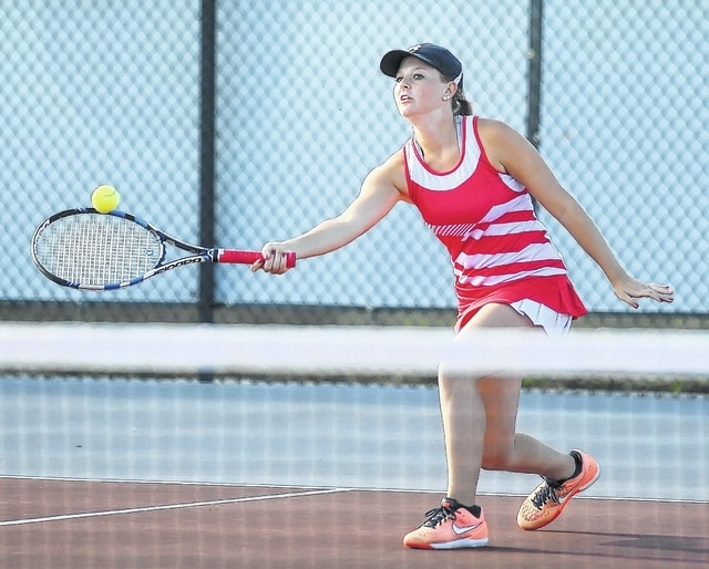 Wapakoneta's MaKayla Schroeder makes a return during the Division II sectional Saturday at the University of Northwestern Ohio.
