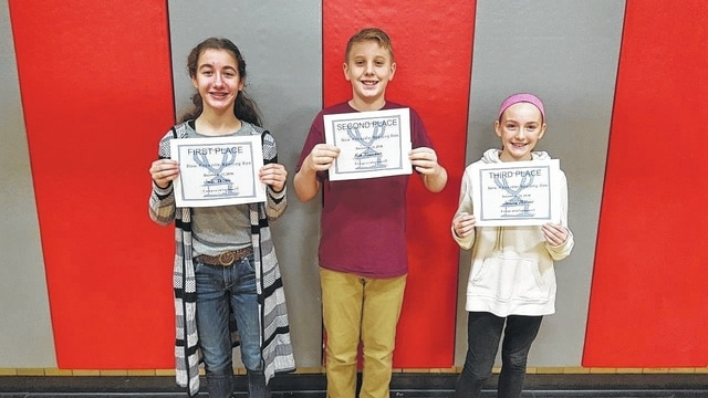 New Knoxville spelling bee champions: Joelle DeLisle, Nick Tinnerman and Jessica Miltner.