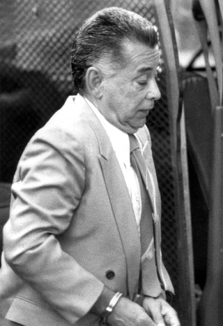 "FILE – In this July 22, 1987, file photo, Nicodemo ""Little Nicky"" Scarfo arrives for a preliminary hearing concerning the 1985 shooting death of Frank ""Frankie Flowers"" D'Alfonso, in Common Pleas Court at City Hall in Philadelphia. Scarfo, whose reign over the Philadelphia Mafia in the 1980s was one of the bloodiest in its history, died Saturday, Jan. 14, 2017, at the age of 87 while in custody at the Federal Medical Center in Butner, N.C. (Philadelphia Daily News via AP,  File)"