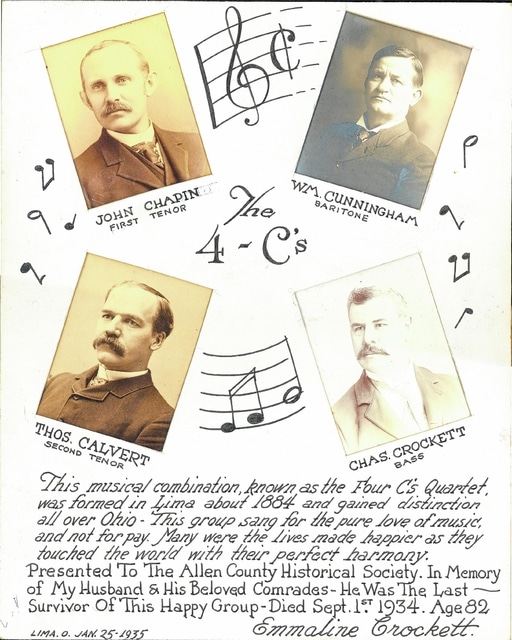 The Four C's Quartet featured William N. Cunningham, Thomas Calvert, John Chapin and Charles Crockett. It formed about 1884 and remained well known into the 1900s. Newspapers reported the group did not accept payment but performed at churches, funerals, weddings and more for the love of music.