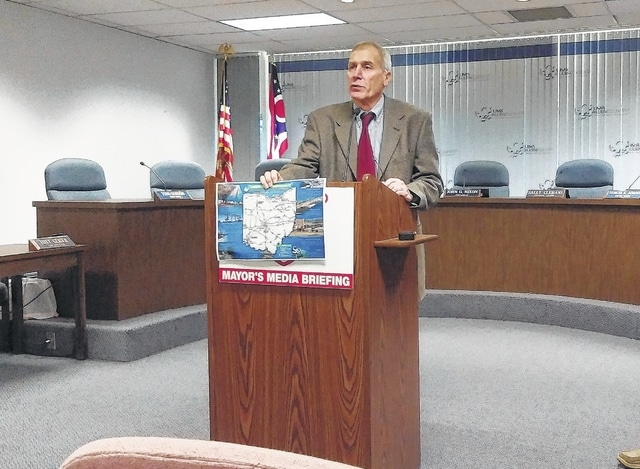 Lima Public Works Director Howard Elstro outlines plans for the inclusion of the Ottawa River Bike Path in a new U.S. bike route running from Toledo to Cincinnati.