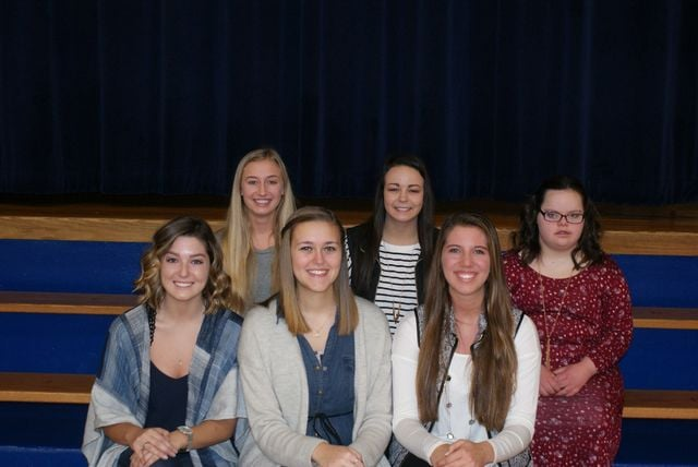2017 Crestview High School Winter Homecoming Court. Back row from the left: Sophomore Olivia Skelton, junior Haley Michaud, and freshman Amber Young. Front row: Queen candidates Tommi Anderson, Ally Fegley, and Ashley Dealey.