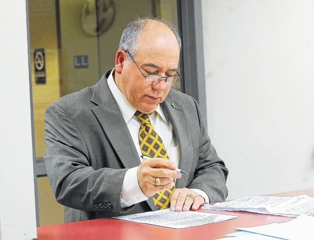 Ray Magnus files nominating petitions seeking 1st ward city council at the Allen County Board of Elections on Thursday.