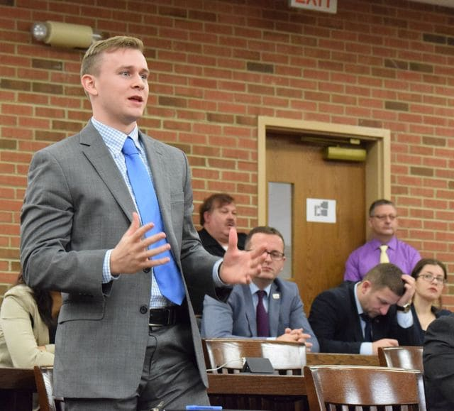 A student asked a question Wednesday to judges on the 3rd District Court of Appeals after the court heard arguments in two cases at Ohio Northern University as part of an educational opportunity for law students to learn more about the court and how it operates.