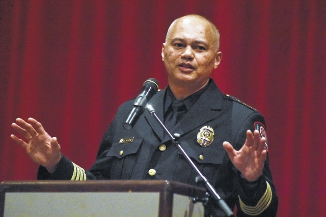 Ohio State University Chief of Police Craig Stone addresses Lima Senior High School juniors during an assembly on Tuesday.