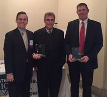 In attendance to receive the award from the Greater Ohio Policy Center were Jeff Sprague, President/CEO of Allen Economic Development Group, Joe Patton, workforce director for OhioMeansJobs-Allen County, and Doug Arthur, program director of Link Lima.