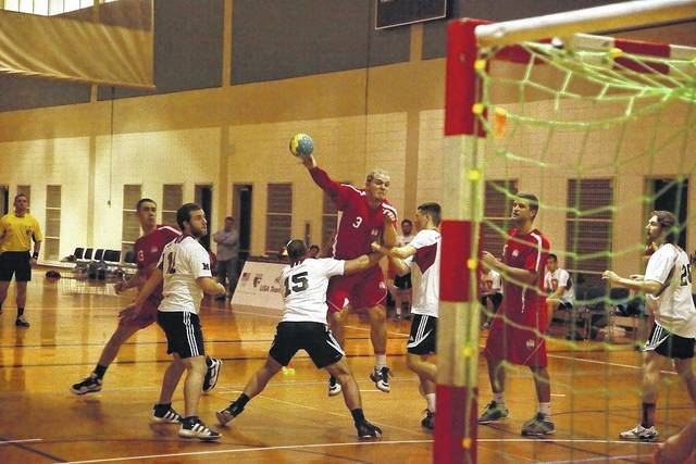 Delphos St. John's graduate Alex Recker (3) is hopeful that the USA National Handball Team that he is a member of can qualify for the Olympics in 2020. The USA team has not qualified for the Games since 1996.