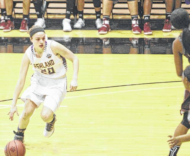 Ashland's Maddie Dackin, a Bath graduate, looks for an avenue to the basket during the NCAA Division II National Championship game at Ohio Dominican University's Alumni Hall on March 24.