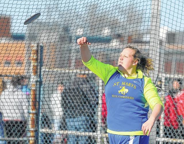 St. Marys' Alyssa Wicker competes Friday in the discus during the Ehresman Track and Field Invitational at Bath Stadium.