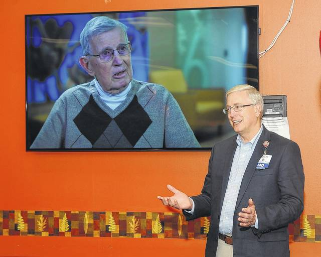 Dr. Ron Pohl speaks with associates on Friday during the 20th Anniversary of Heart Care at Lima Memorial Health System.