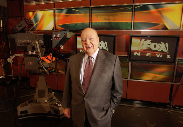 In this Sept. 29, 2006, file photo, Fox News CEO Roger Ailes poses at Fox News in New York. Fox News said on Thursday that Ailes has died. He was 77.