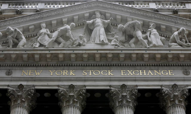 FILE - This Thursday, Oct. 2, 2014, file photo, shows the facade of the New York Stock Exchange. U.S. stocks are lower early Tuesday, May 30, 2017, as energy companies once again slump with the price of oil and banks slide in tandem with bond yields and interest rates. (AP Photo/Richard Drew, File)
