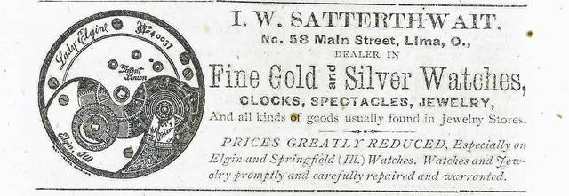 This newspaper advertisement from 1876 promotes Isaac W. Satterthwait's jewelry store.