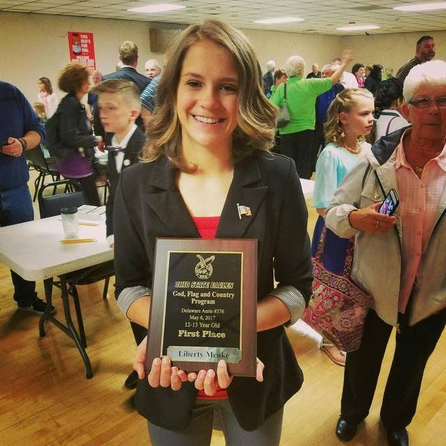 Submitted photo Liberty Menke, an eighth-grader from New Knoxville schools, took first place in the state God, Flag and Country speech contest.
