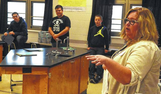 Sara Heitmeyer, of Allen County Crime Victims Services, speaks to Spencerville High School students about having a safe relationship during Mental Health Awareness Day 2017 on Wednesday with 300 students attending the programs. The event was created to build awareness, and educate those attending, about different mental health topics. Topics include suicide prevention, mental health, the effects of opioid and alcohol abuse, talking to parents and the effects of social media/texting. St. Rita's and Spencerville have also teamed up with other local agencies in the community.