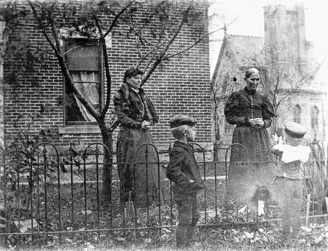 This photo shows Eliza and Adelia Satterthwait and two unnamed boys. Eliza was Adelia's mother. The family name has appeared two ways over time — Satterthwait and Satterthwaite.