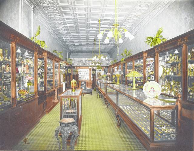 A jewelry store, pictured in about 1918, was once in the building discussed in this story.