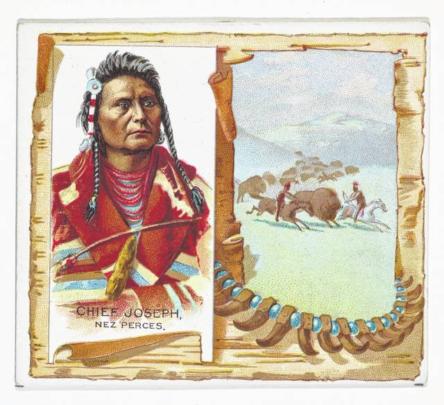 This image of Chief Joseph, Nez Perce, was made for the American Indian Chiefs series for Allen & Ginter Cigarettes.