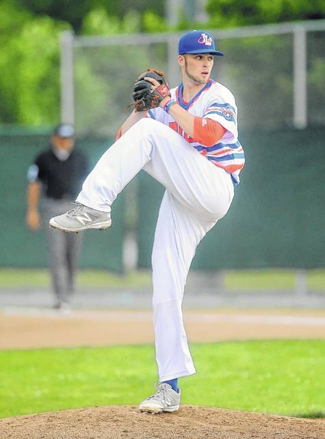 The Lima Locos' Colin Gossard, a Bath graduate, pitches against Lorain County during Friday night's game at Simmons Field.