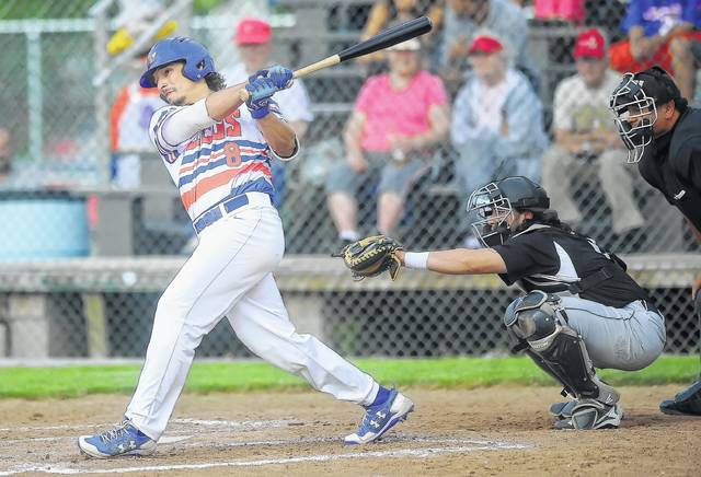 The Lima Locos' Will Kilgore hits a double during Friday night's game against Lorain County at Simmons Field. Richard Parrish | The Lima News