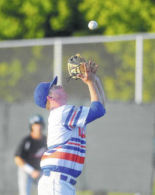 The Lima Locos' Brad Croy retrieves a pop up during Tuesday night's game at Simmons Field.