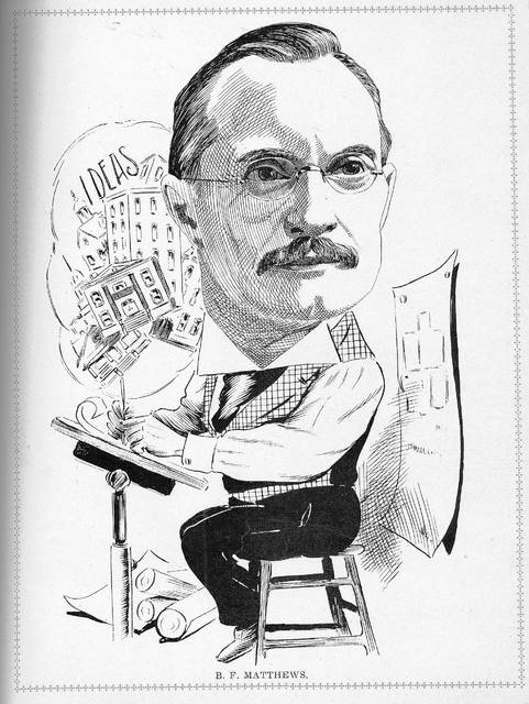 This caricature of Benjamin F. Matthews, Lima architect, dates from 1907.