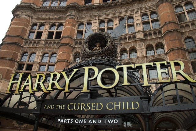 "This July 30, 2016, file photo shows the Palace Theatre in central London which is showing a stage production of, ""Harry Potter and the Cursed Child."" Harry Potter publisher Bloomsbury announced that two new books from the Harry Potter universe are set to be released in October as part of a British exhibition that celebrates the 20th anniversary of the launch of the series."