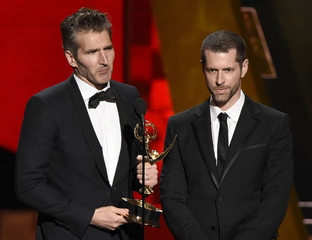 "Creator-showrunners David Benioff, left, and D.B. Weiss accept the award for outstanding writing for a drama series for ""Game Of Thrones"" at the 67th Primetime Emmy Awards in Los Angeles in September 2015. HBO's announcement Wednesday that Benioff and Weiss will follow ""Game of Thrones"" with an HBO series in which slavery remains legal in the modern-day South drew fire on social media from those who fear that a pair of white producers are unfit to tell that story and that telling it will glorify racism."